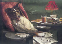 Smoking Dog - A3 size 29.7x42cm Vintage Decor Canvas Art Print Poster Unframed