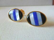 Vintage Goldtone Black / White / Blue Striped Oval Cuff Links