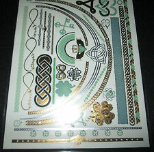 Metallic Temporary Tattoos NEW Love & Madness Green Gold Silver Black FREE SHIP!