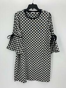 Isaac Mizrahi Live! Womens L Large Black Check Pattern T Shirt Dress NWOT