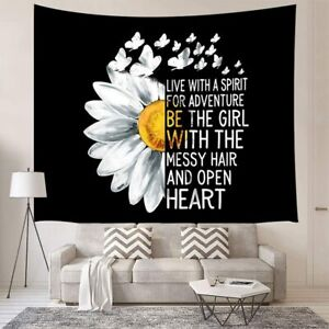 Half Daisies Flower with Butterfly and Inspirational Motivational Words Tapestry