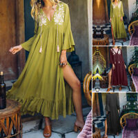 2021 ZANZEA Women Summer Side Slit Long Maxi Kaftan Ruffle Vintage Floral Dress