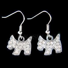 w Swarovski Crystal ~Scottish Terrier Scottie Westie Dog Dangle Earrings Jewelry