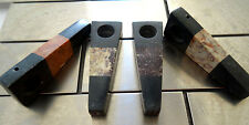 (2) Pieces Black Handcarved Stone  Pipes  SCREENS Not  Glass  Blk-2 piece