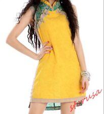 Womens Chinese cheongsam Slim Fit Mini Dress Sleeveless Cotton Linen Printed Sz