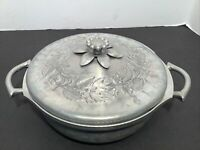 Vintage Everlast  Pyrex Hammered Aluminum Serving dish and Flowered Lid 8A5