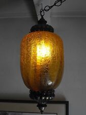 Vintage Mid-Century Amber Crinkle Glass Hanging Light Lamp Fixture