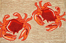 Red Crabs in the Sand Out Door Mat Hooked Area Rug Home Decor