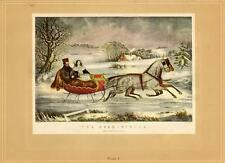 Currier And Ives: The Road-Winter: Horse/Sleigh- 1942 Vtg Bookplate Art Print