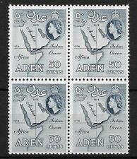 ADEN, QE11. 1964 ISSUE, 50c, MAP, SG 82a, MNH BLOCK 4, CAT 9 GBP