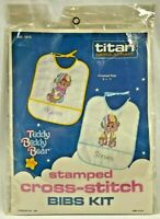 1986 Titan Stamped Cross Stitch Embroidery Kit Teddy Beddy Bear Baby Bibs 8413