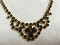 VINTAGE Black Jet Gold Color Claw Setting Necklace Collier #2