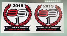 Jorge Lorenzo 2015 MotoGP Champion Stickers Decals X2
