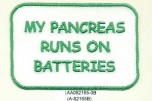 Green Type 1 Diabetes Diabetic My Pancreas Runs on Batteries Fundraising Patch
