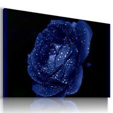 DROPS WATER FLOWERS BLUE ROSE Modern Canvas Wall Art Picture L485 MATAGA .