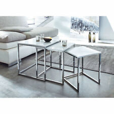 Table Coffee decoration Murano Nesting Of 3/Side White Glossy Wooden Tops-WNT02W