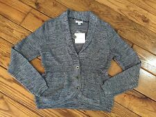 NWT Croft & Barrow Navy White Marled Knit Cardigan Sweater Button Small