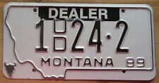 Montana 1989 SILVER BOW COUNTY USED CAR DEALER License Plate # 1 24-2