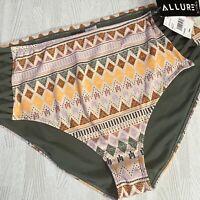 Allure Bikini Swim Bottoms Sz 3 22/24 Plus High Waist Side Cut Outs Swimsuit New