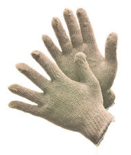 72 PAIRS STRING KNIT GLOVES 500G COTTON / POLYESTER BLEND NATURAL WHITE- LARGE