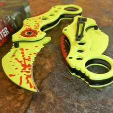 ZOMBIE HUNTER Neon Green BLOOD SPLATTER Spring Assisted Hawkbill Karambit Knife