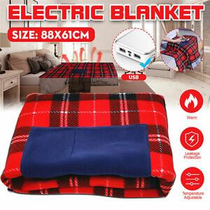 5V Electric Car Blanket Heated USB Portable Travel Blanket Cosy Warm Winter