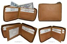 Men's Zip around wallet. Leather wallet Center piece 9 credit card ID 2 Billfold