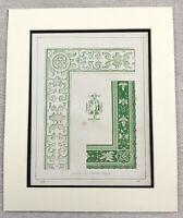 1859 Print Victorian Ornamental Border Painting Architectural Antique Original