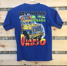My Name Is Panama Diablo Rojo Tshirt Mens Size XL Blue Vintage