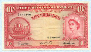 BAHAMAS 10 Shillings 1953 P14c VF+ with Queen E.