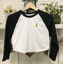Crop Top Baseball Tee Raglan embroidered Pineapple American Apparel - USA Made