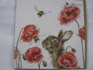 Wrendale Designs  Klappkarte Grußkarte Hase mit Mohnblumen und Biene