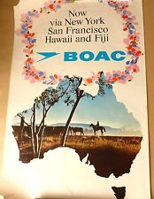 BOAC Airlines - Australia via New York   VINTAGE 1960's TOURIST ART POSTER
