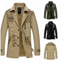 Men's Western style Trench Coat Long sleeve Jacket Fleeces Lined Winter Warm L
