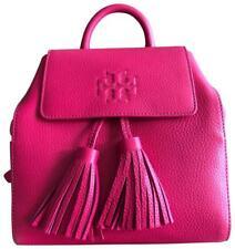 NWT $450 TORY BURCH Thea Mini Tassel Bright Azalea Pink Pebbled Leather Backpack