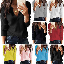 Womens Long Sleeve V-Neck Solid Ribbed Jumper Top Casual Knitted Pullover Blouse