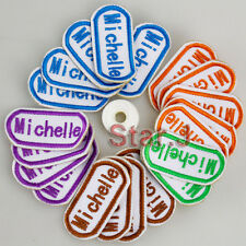 20pcs CUSTOM Name Tag Patch Embroidered Clothes Children Uniform School Thread