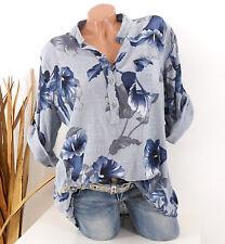 Bluse Damen Tunika 42 44 46 grau Longbluse Fischerhemd Leinen Optik Blumen Damen