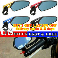 "2Pcs 7/8"" Universal Motorcycle Handle Bar End Rearview Side Mirror Aluminum US ~"