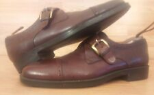 Johnston & Murphy Dress Shoes, Cap Toe,Brown Textured Leather,Buckle, 9M