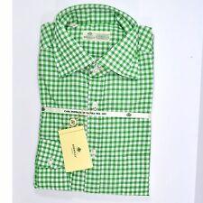 100% new LUIGI BORRELLI shirt green white check 40 - 15 3/4 160390