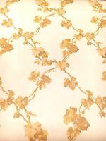 Vintage Wallpaper Diamond Trellis Pattern Vines Honey & Golden Color by Motif