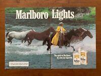 1981 Marlboro Lights Cigarettes Vintage Print Ad/Poster Man Cave Bar Décor 80s