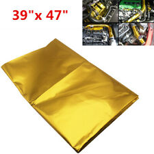 "Durable 39""x47"" Self-Adhesive Reflect Gold Heat Wrap Barrier For Thermal Exhaust"