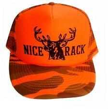 Nice Rack Hunting Orange Camo Camouflage Snapback Mesh Trucker Hat Cap