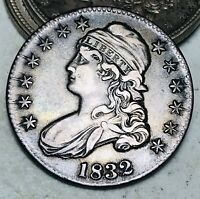 1832 Capped Bust Half Dollar 50C High Grade Choice Good Silver US Coin CC7006