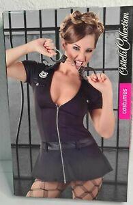 Damen Polizei-Kleid Gr. XL mit Front-Reißverschluss Kostüm schwarz Police Sexy