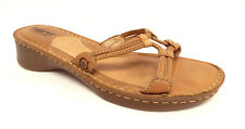 BORN Size 7 Brown Leather Slide Sandals Shoes