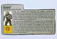 GI JOE Figure Euro Action Force Cobra Cobra Decimator French FILE CARD LOT