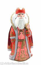 "Russian SANTA Wood Hand Carved Hand Painted 10 3/4"" Tall Signed by Artist"